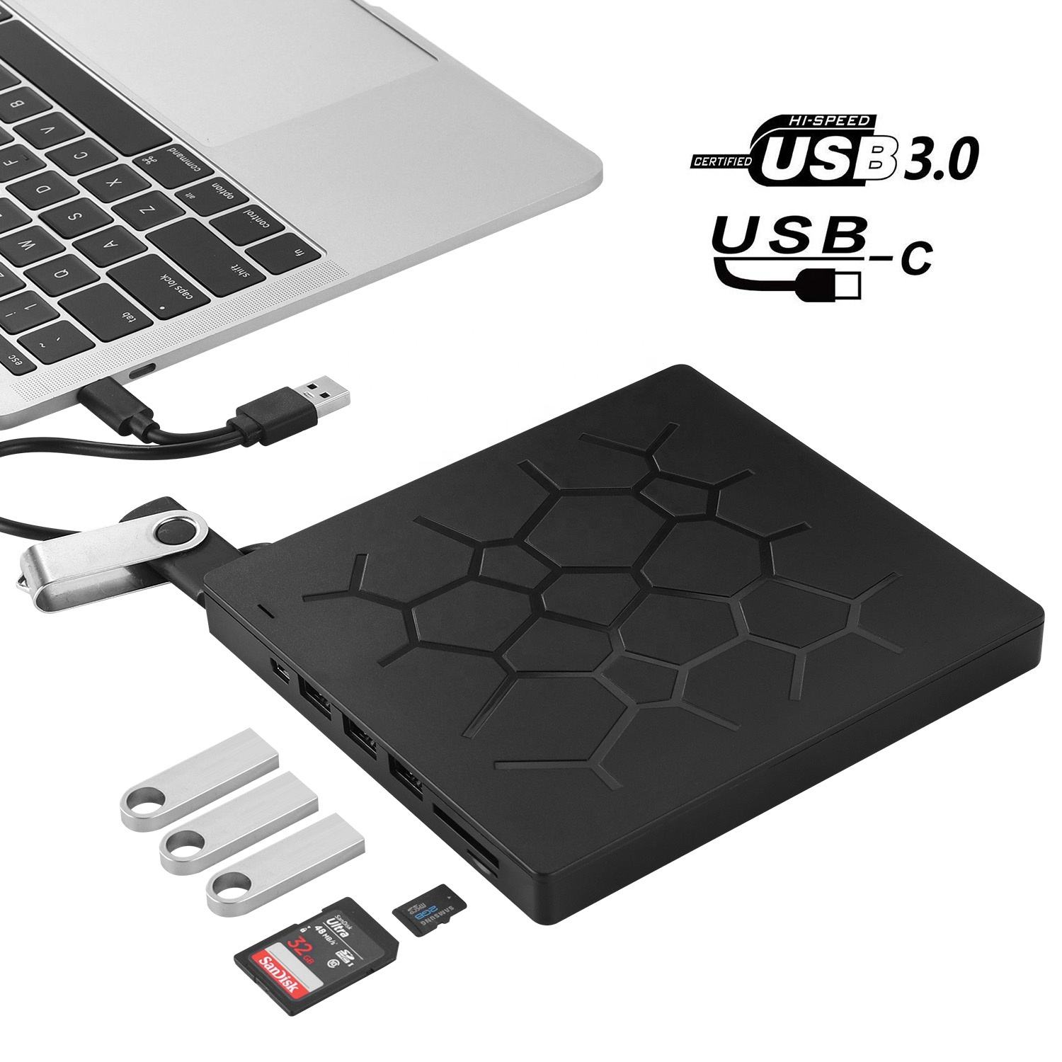 2020 neue ultra-dünne Multifunction External USB 3.0 High Speed <span class=keywords><strong>DVD</strong></span> RW Burner <span class=keywords><strong>CD</strong></span> Writer Portable Optical Drive usb typ-c