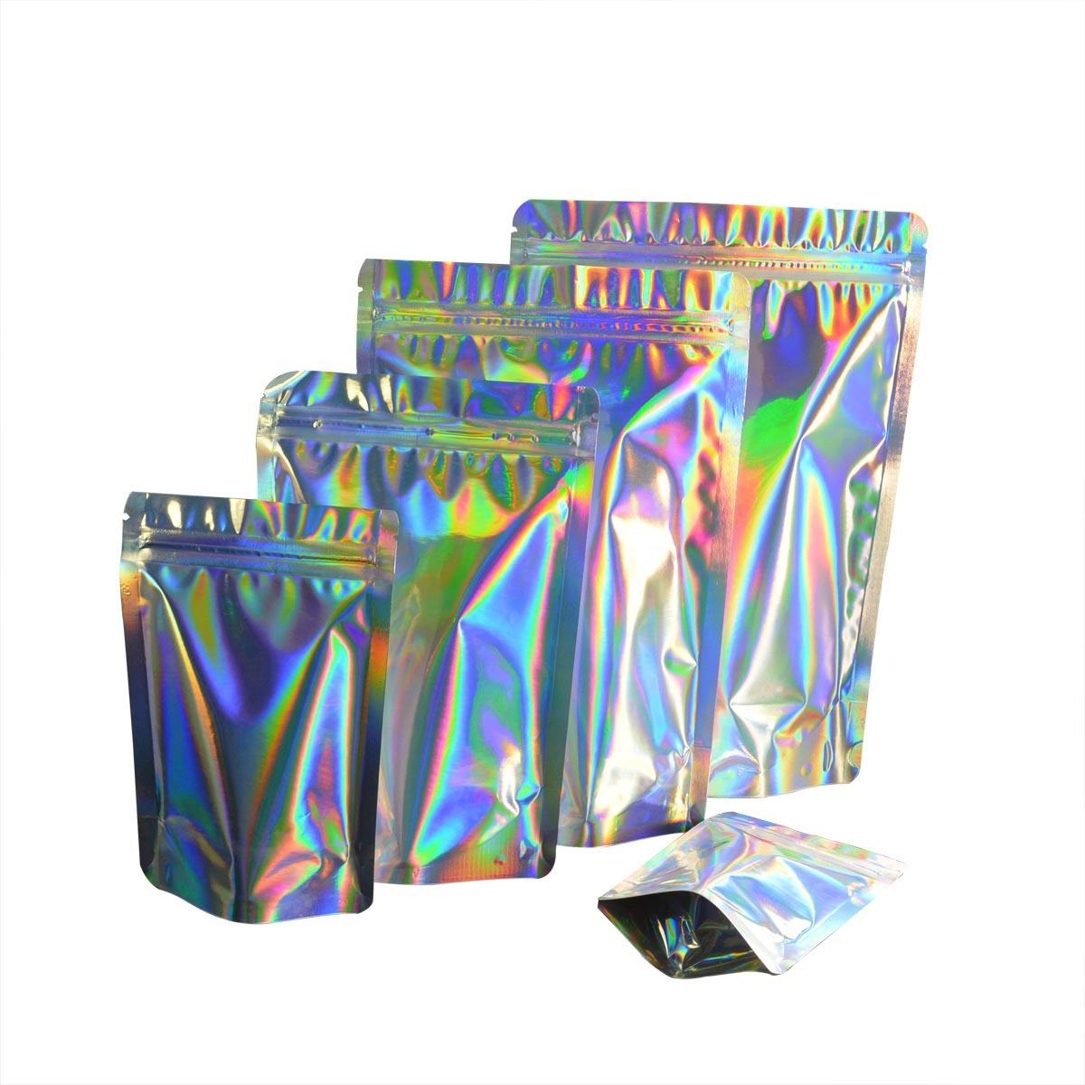 Holographic Resealable Smell Proof Bags Rainbow Holographic Stand Up Pouches for Food FDA Approved Stand Up Mylar Bags