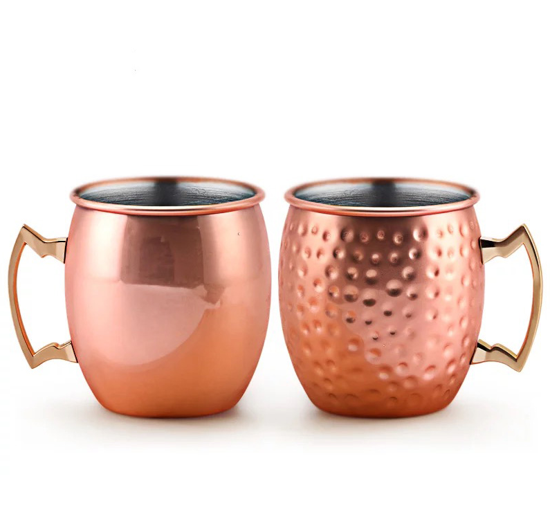 Wholesale 16/18 unzen Stainless Steel Coffee & Cocktail Cup Copper Pure Mull Hammered Moscow Mule Mug