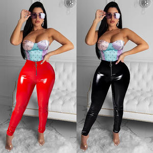 Black Red Womens Faux Leather Long Pants Ladies Soft Elasticity Shiny Wet Look Leggings Trouser Pants Bottoms PU