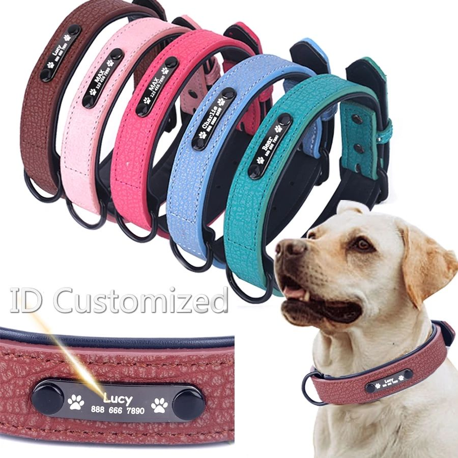 Personalized Dog Collars adjustable Soft Leather Custom Name ID Tags For Cat puppy Pet Accessories