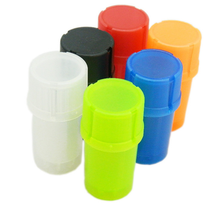 Wholesale cheap plastic multi colors custom logo herb/weed container and grinder