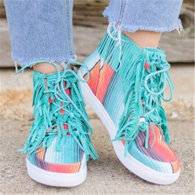 2020 Fashion Sneaker Tassel Shoes Women Flat Lace Up Casual Canvas Shoes for Ladies