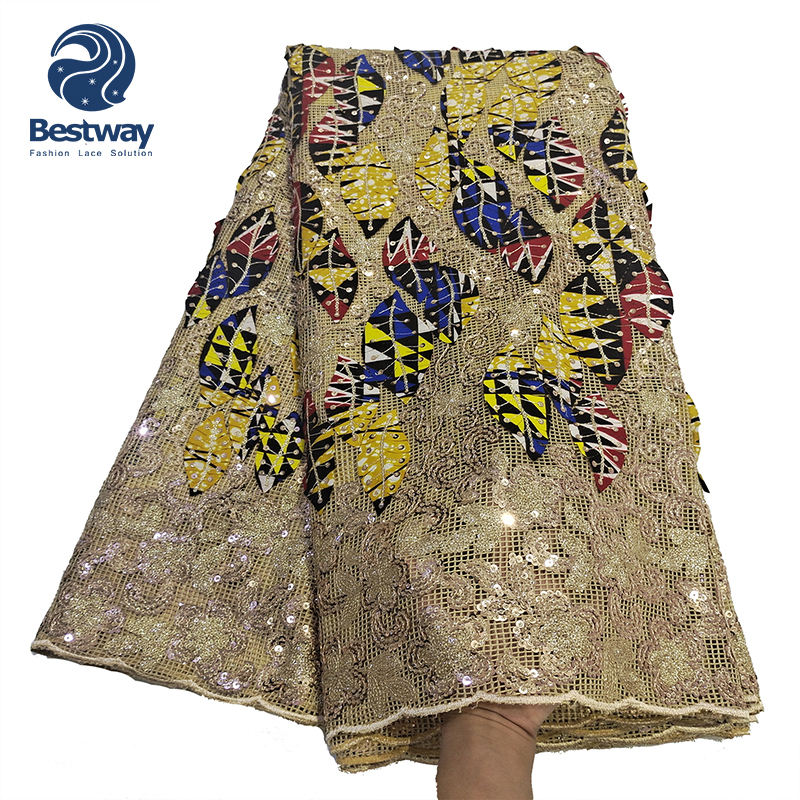 2021 New Type African French Sequence Lace Fabric Mixed with Wax Lace Embroidery Colorful lace