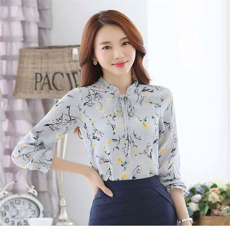 Fashion Garment Spring Tops Long Sleeves Printing Plus Size Loose Lace-up Chiffon Blouse Woman