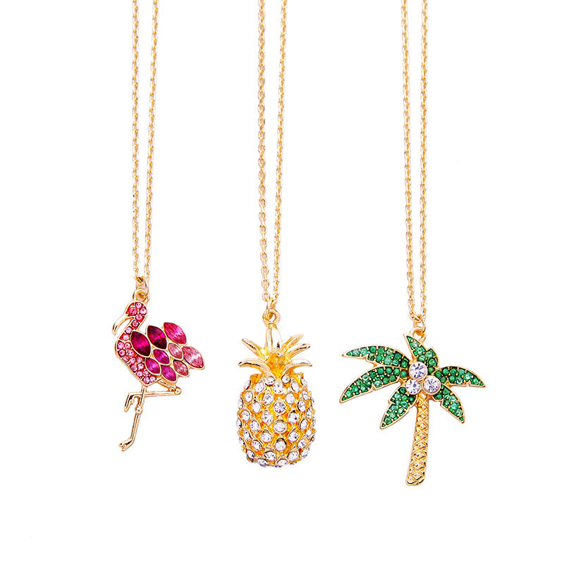 xl02145c Trendy 14K Gold Plated Hawaiian Jewelry Wholesale Coconut Palm Tree Flamingo Pineapple Necklace 2021 Pendant Women
