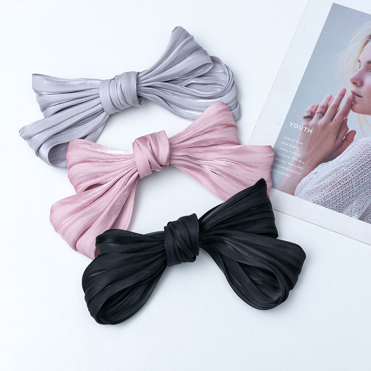 S-könig <span class=keywords><strong>Organza</strong></span> Big Colorful Bow Knot Hair Clips Shiny Fancy Luxury Hair Pins For Women Girl Spring Clip Hair Decoration Gift