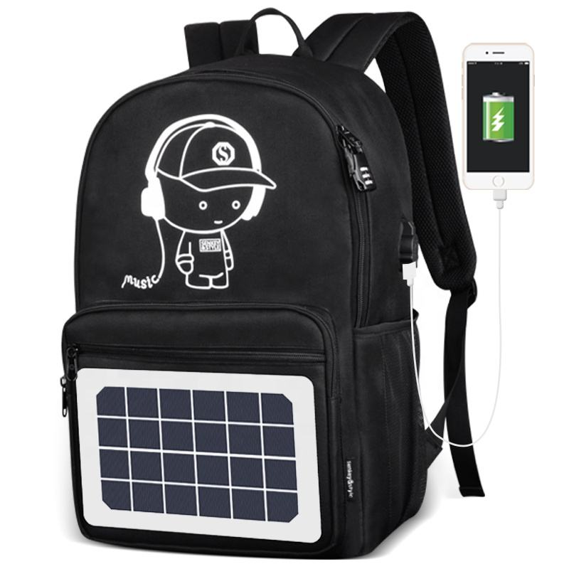 2021 high quality water proof solar power back pack with solar panel school backpack