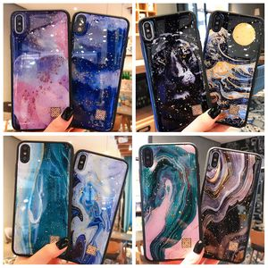 Marble Style for iPhone X Hybrid Case Custom Made Printing XS Max 7 8 6S Plus Mobile Phone Shell Glue TPU Glitter Back Covers