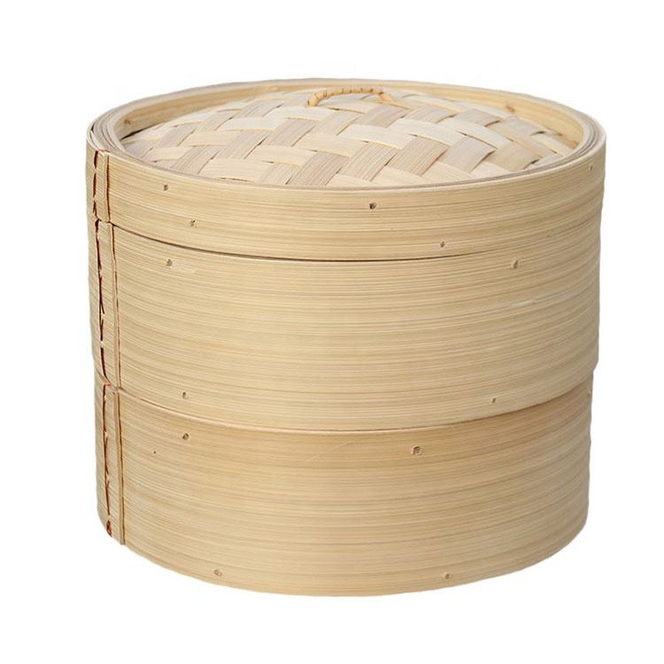 3 Piece Eco-friendsly Wholesale Bamboo Rice Steamer Chinese Bamboo Dim Sum Food Steamer Basket