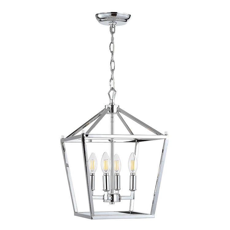 4 Bulb Lantern Lamp Chrome Metal Classic Traditional Pendant Lighting for Kitchen Living Room