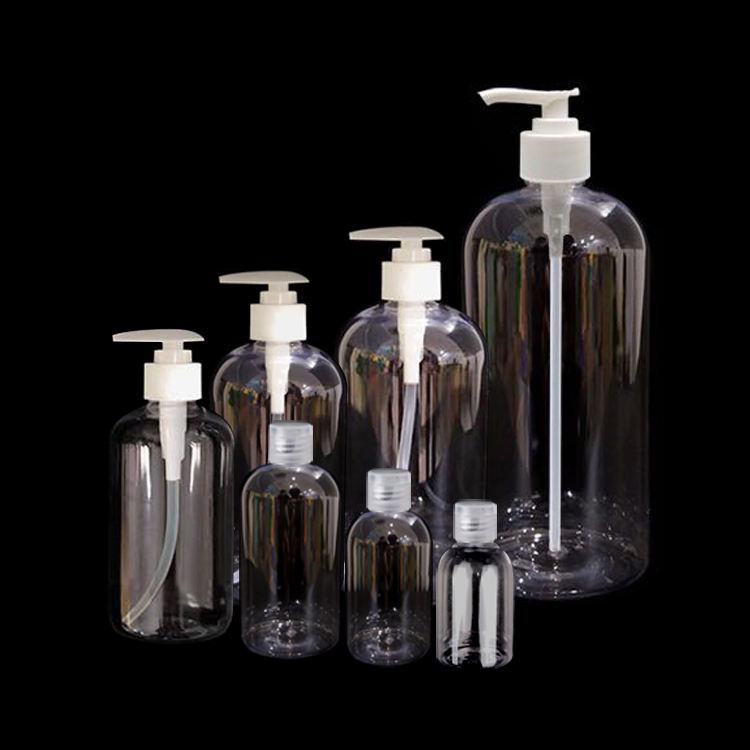 Wholesale 30ml 60ml 120ml 240ml 350ml 500ml 1000ml PET White Clear Round Plastic Bottles with Pump Sprayer for Hand Soap Shampoo