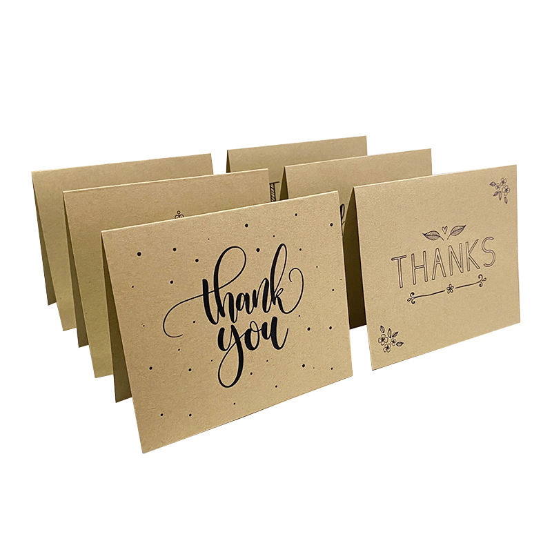 Customized brown kraft paper thank you card, free design birthday card wedding invitation thank you card
