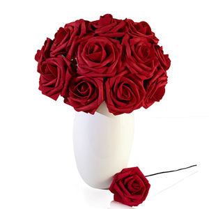 25 pcs Bulk Party Centerpiece Decoration Real Looking Artificial Foam Red Roses flower head DIY PE Craft Foam Flowers Wedding