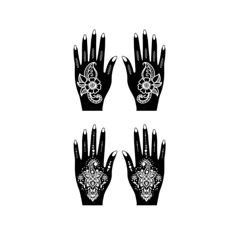 Gorgeous female sexy body art black nail bud silk hand Tattoo Sticker