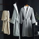China Factory Unisex Double-layer Cotton Flannel Nightwear Super Soft Solid Adult Hotel Luxury Bathrobe with Two Pockets