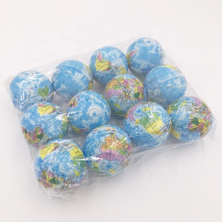 Custom PU Promotional Colourful Round Earth Pattern Anti Stress Ball