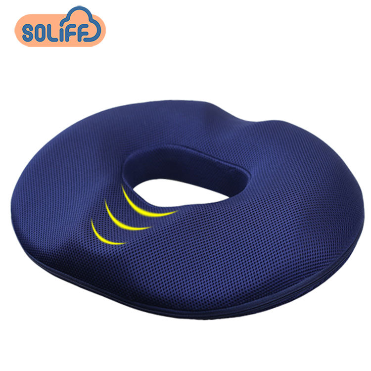 new mesh velvet fabric charcoal memory foam round tailbone treatment orthopedic hemorrhoid donut seat pillow cushion
