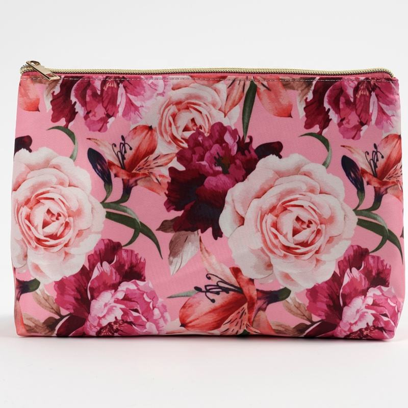 Hot style flower print cosmetic makeup bag Promotional travel storage bag Customize Cosmetic Bag