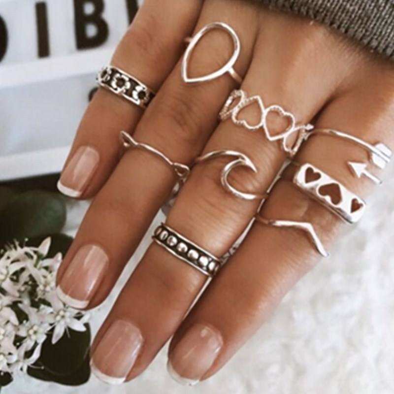 Classic Silver Rings With Love Heart Fashion Crystal Wedding & Party Wide Ring For Women Silver Jewelry
