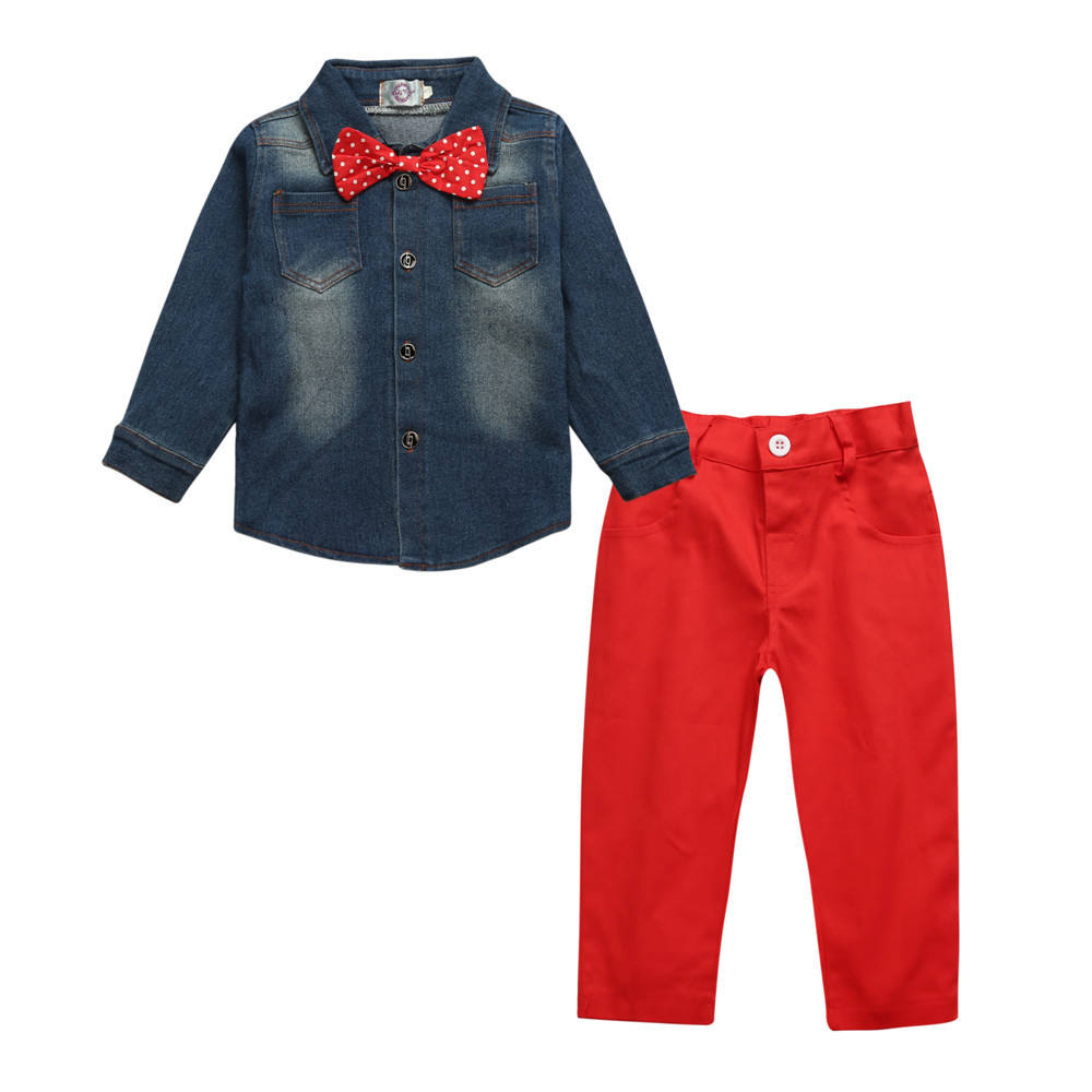 New design hot sale spring fall shop quality cotton boutique shirt red color pant two pieces children kids junior boys clothing