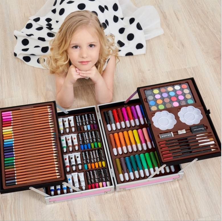 145 Pcs Super Mega Art Set Non-toxic Watercolor Pen Creative Learning Stationery Artistic Drawing Sets Gift for Kids School EN71