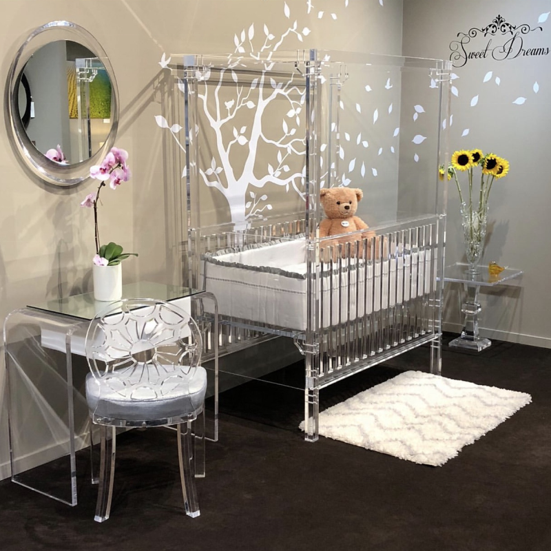 Wholesale clear perspex baby crib bedding acrylic baby furniture crib