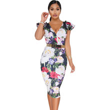 Hot Deep V Midi Bodycon Women Floral Dress