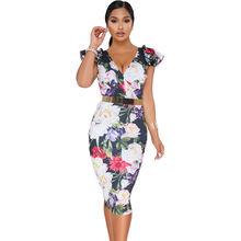 Hot Deep V Midi Bodycon Women Floral Dress