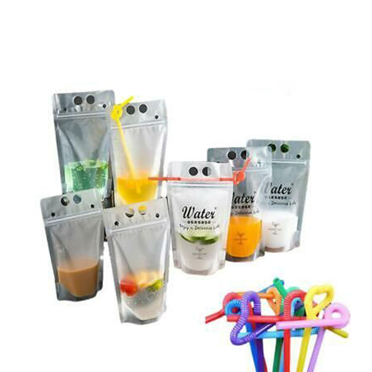 Wholesale Price Custom 500ML Ziplock Reusable Standing Up Aluminum Foil Clear Plastic Food Packaging Drink Pouch Bag With Spout