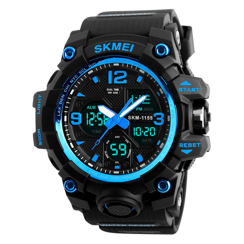 SKMEI 1155B New Big Case Hot Selling Electronic Waterproof Dual Time Analog Sports Fitness Digital Wristwatch