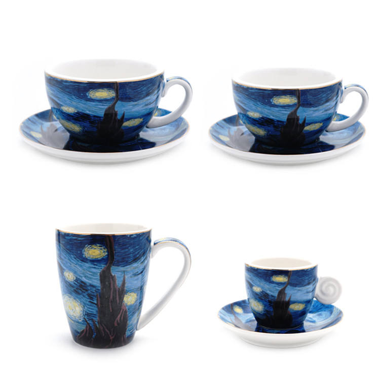 Europe drinkware custom printed colorful ceramic espresso cup saucer for restaurant