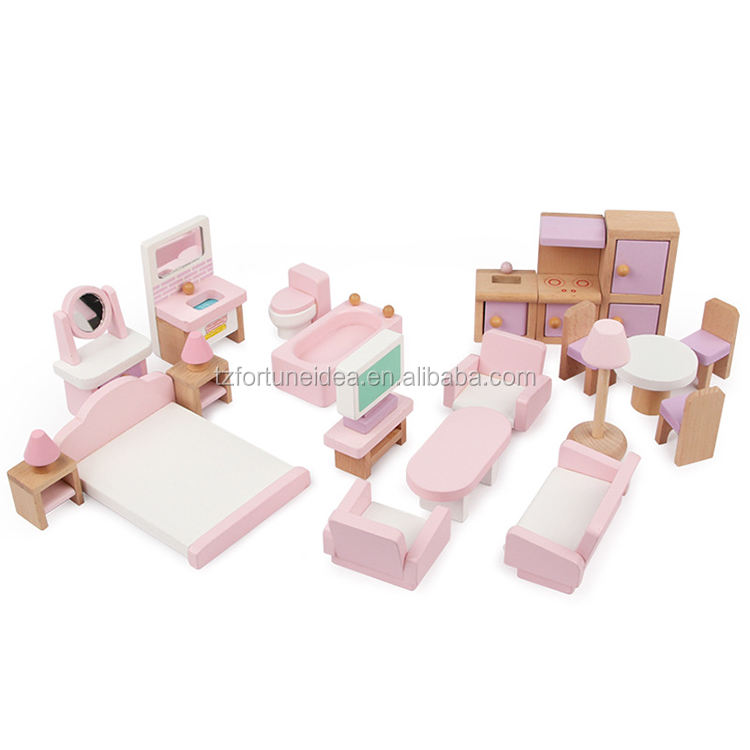 Wholesale Girls Pink Pretend Play Children Wooden Doll House Miniature Furniture Toy For Kids play