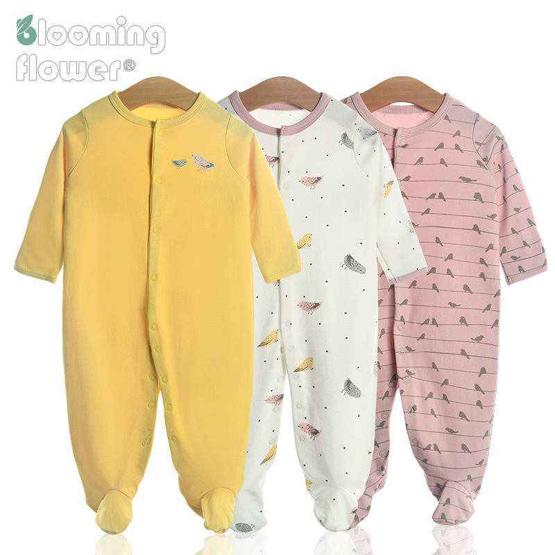 Wholesale 3 Piece Set Long Sleeves 100% Cotton Snap Button Baby Clothing Rompers