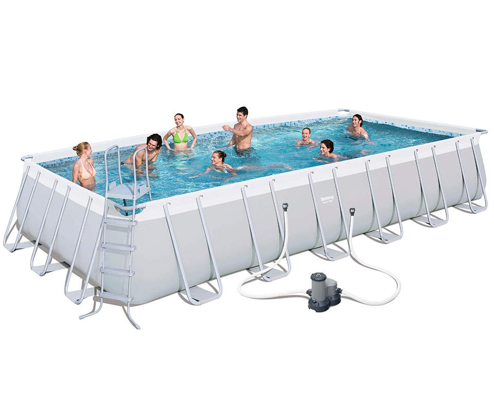 "Bestway 56623 31.4' x 16' x 52"" power steel rectangular plastic frame family lounge swimming pools products"