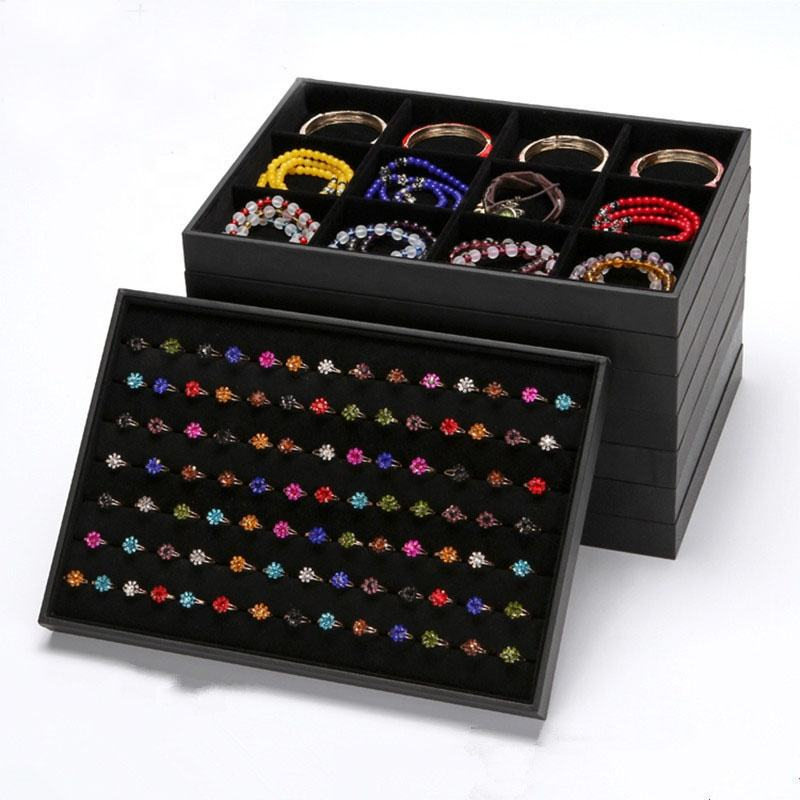 Multi Function Wooden wrapped Black Velvet Jewelry Stackers Ring Bracelet Waist beads Body Jewelry Packaging Display Tray