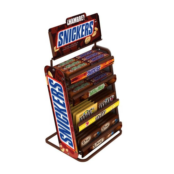 Supermarket Candy Snack Display Shelf Metal Movable Rack Supermarket Shelf