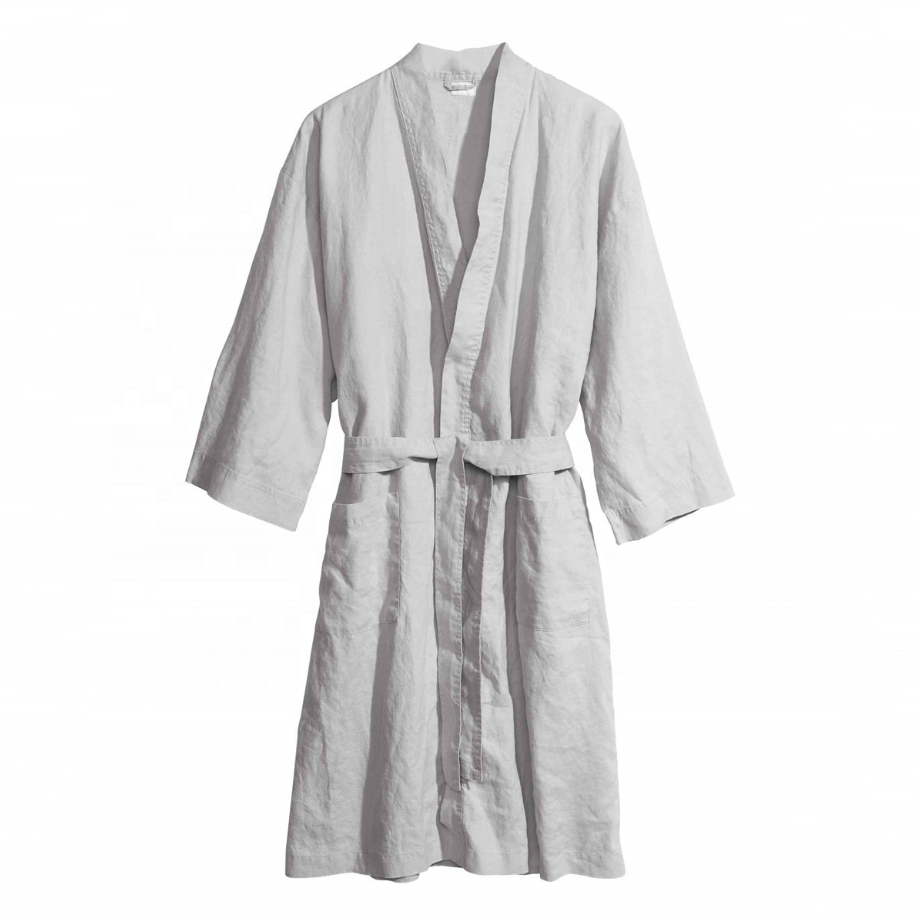 Custom Male Female Japanese Loose Casual 100% Flax Linen 192gsm Night Dress Bath Robe Linen Sleepwear For Home Hotel