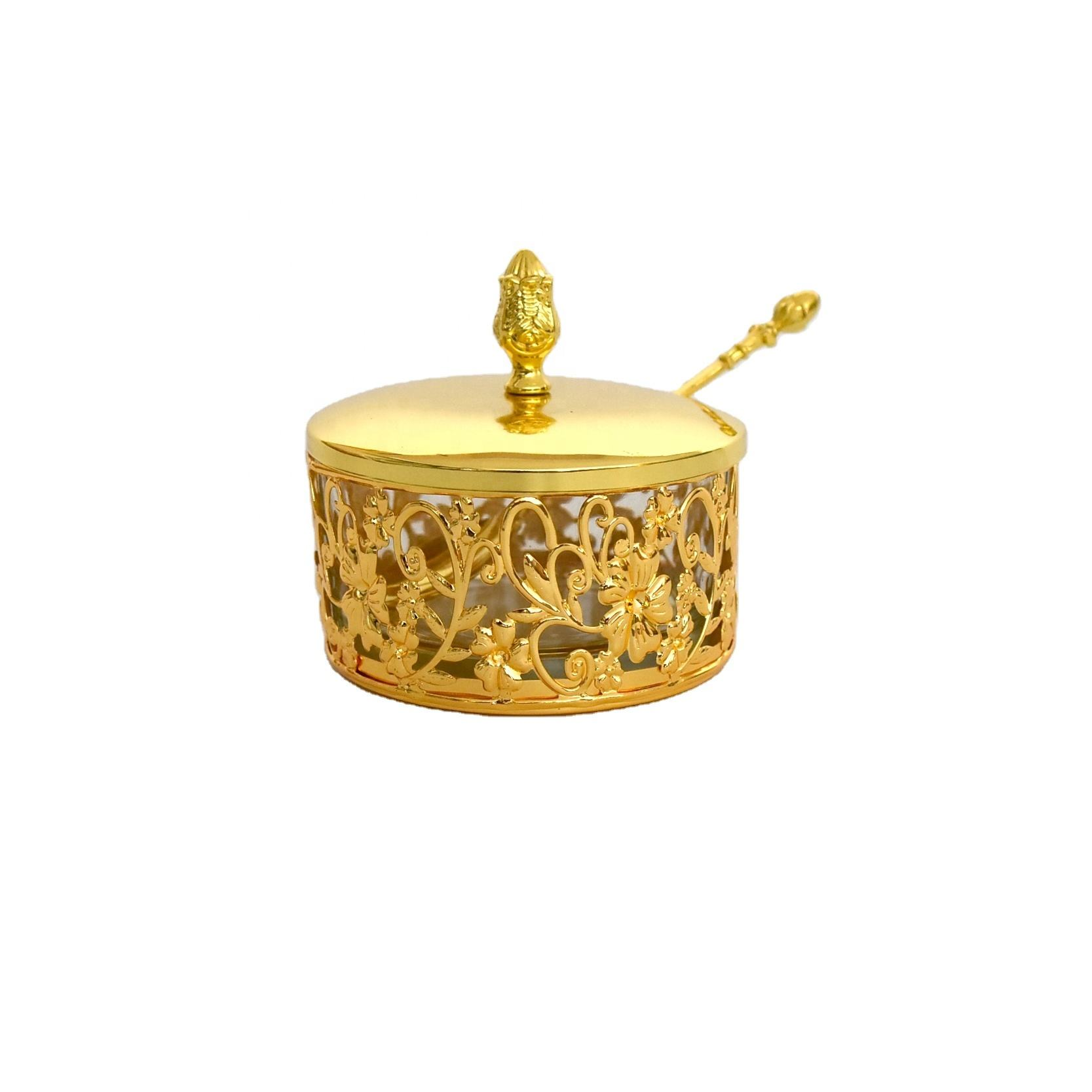 Gold plated flower pot set housewarming return gift dinnerware candy sugar pot