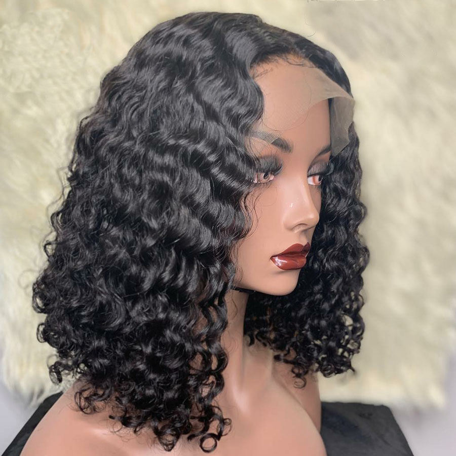 Wholesale Vendors 10A Grade Virgin Pixie Cut Short Bob Lace Frontal Wig Deep Water Wave Pre Plucked Lace Front Human Hair Wigs