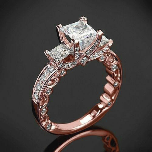 Hot Sell Luxury Royal Jewelry Big Squared Diamond Zircon 18K Gold Ring For Women