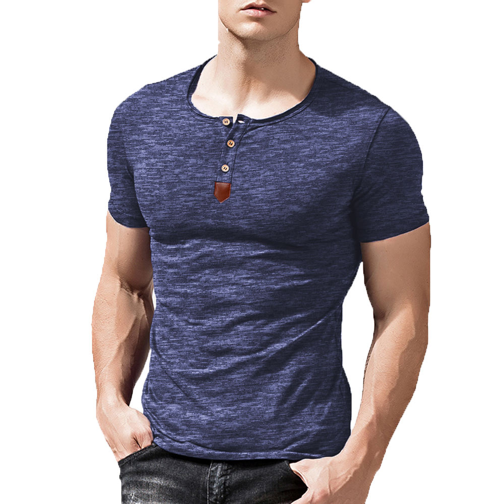 Lowest Price Mens Casual Slim Fit Leather Deco Henley Shirt Tops Short Sleeve T-shirt
