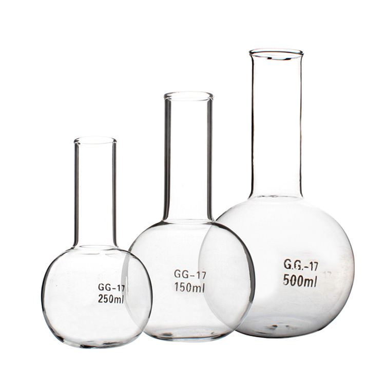 100ml 150ml 250ml 500ml Clear Glass Round Bottom Flask For Lab Use