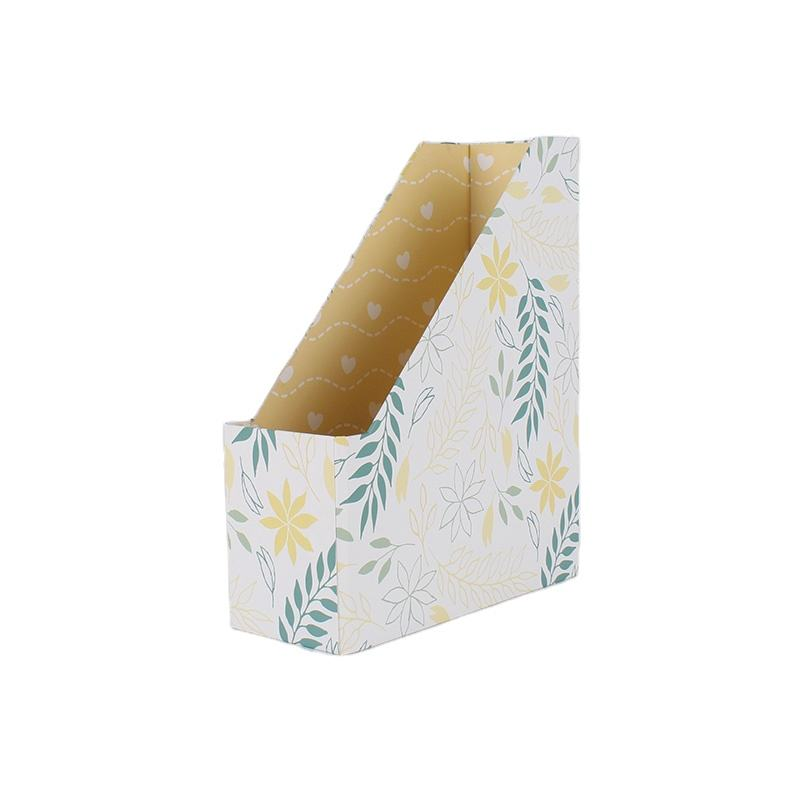 Cardboard Paper Foldable Magazine Holder Custom Desktop Paper Magazine File Organizer Holders With Label Rack