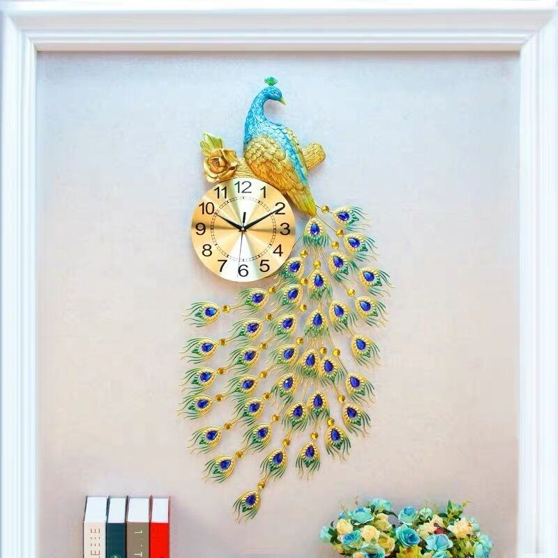 Wal Decorative Style Creative Home Office Large Metal Peacock Wall Clock China