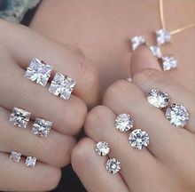 Clear white cz diamond brincos zirconia stud mexican earrings for women