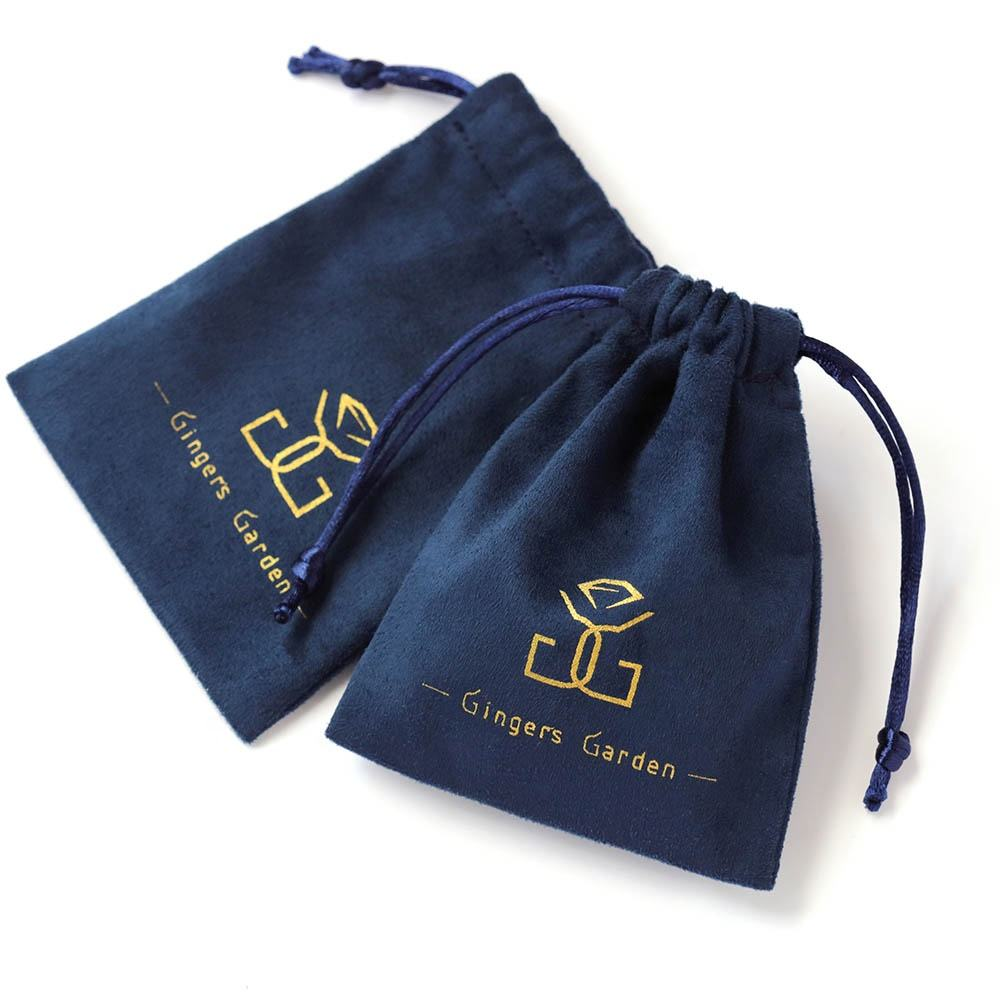 PandaSew 8*10 cm Navy Blue High Quality jewelry custom size Suede packaging pouch drawstring bag