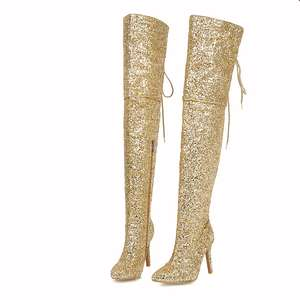 Ladies Sexy Glitter Thigh High Boots Pointed Toe Over The Knee High Boots For Women Thin High Heel Winter Boots