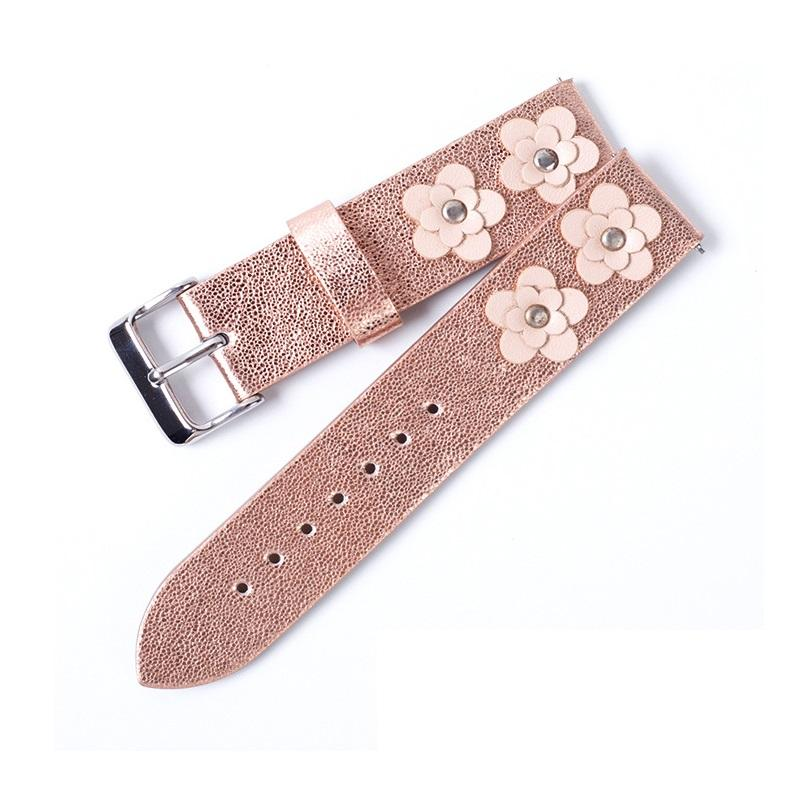 Rivet Flower Two Pieces With Silver Buckle Cheap Leather Watchband