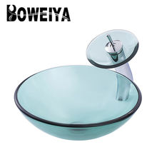 New Model Simple Design Counter Top Sink Clear Glass Round Bathroom Wash Basin